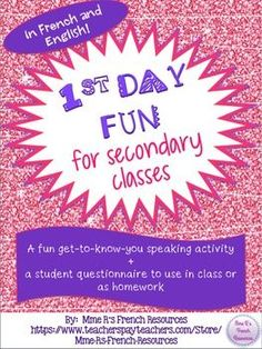 Need a fun way to get to know your students on the first day of school?  This get-to-know-you speaking activity and written assignment are perfect for your secondary student and they come in French and English!There are 32 speaking questions on printable task cards.