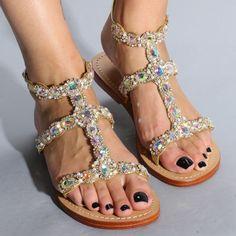 Gold Leather Embellished Sandals for Summer