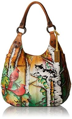 Women's Shoulder Bags - Anuschka Handpainted Leather 514CCT Large Shoulder Hobo Country Cat One Size >>> Check out this great product.
