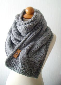 Scarf  Chunky Cowl Grey Thick Cabled Hand Knit. $75.00, via Etsy.