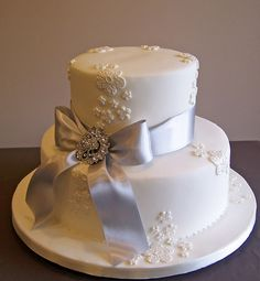 Silver Wedding Anniversary cake by cakespace - Beth (Chantilly Cake Designs), via Flickr