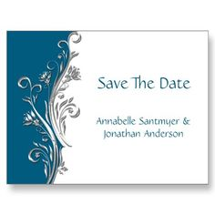Teal Silver White Floral Save The Date
