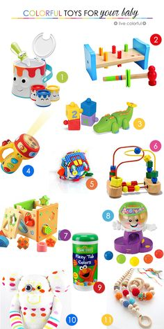 Check out some colorful toys and books for your baby. Educational, colorful and fun | LiveColorful.com