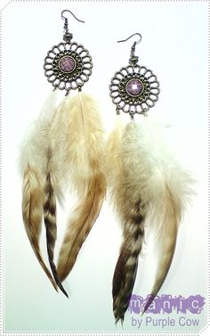"""Tabby's Lashes"" Feather earrings from Manic Purple Cow, Feather Earrings, Dream Catcher, Lashes, Accessories, Dream Catchers, Eyelashes, Eyebrow, Dreamcatchers"