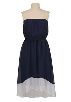 High-Low Hem Chiffon Color Block Dress available at #Maurices