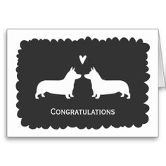 Pembroke Welsh Corgis Wedding Congratulations Greeting Cards - Use this link for coupon codes: https://www.zazzle.com/coupons?rf=238077998797672559