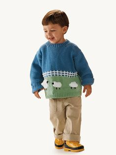 Free Knitting Pattern - Toddler & Children's Clothes: Fluffy Sheep Sweater