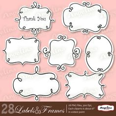 28 Digital Vector Printable Frames and Labels for by AngelinaWorks, $4.99
