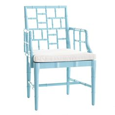 Wisteria Chinese Chippendale Chair in Spanish Sage. This faux bamboo chair with comfy cushion harkens back to Chinese Chippendale Style. Find Furniture, Home Furniture, Furniture Design, Furniture Chairs, Painted Furniture, Bamboo Furniture, Painted Chairs, Furniture Movers, Coastal Furniture