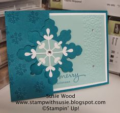 Stampin' Up!- This is a BEAUTIFUL SNOWFLAKE card created with the Snowflake Card Thinlit Die.  I also added embossed snowflakes along the edge using our Delicate Designs Embossing folder & 'Endless Wishes' stamp set.