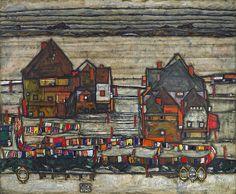 Egon Schiele - His Häuser mit bunter Wäsche (Vorstadt II) / Houses with Laundry (Suburb II) [1914]