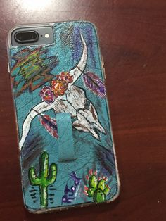 Painted leather Cell phone case steer head cactus hand painted
