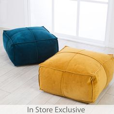 Add a little bohemian luxury to your home with our Bailey velvet poufs. Available in rich blue and mustard tones, these gorgeous poufs have a panelled finish in soft velvet. Style with our Bailey cushions to complete the look!
