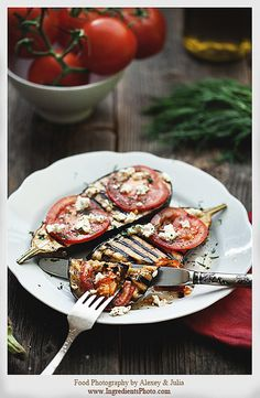 Grilled Eggplant with Tomato by Food Photography by Alexey & Julia, via Flickr