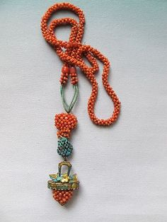 Chinese natural coral and turquoise necklace