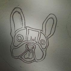 Epoxy sketch . French bulldog