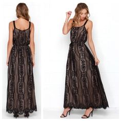 "Black and Beige Lace Dress Beige and Black Lace Maxi Dress! Wide grosgrain ribbon straps topa relaxed bodice that boasts a silky beige lining that peeks from beneath the black lace overlay. A drawstring waist adds shape above a maxi-length skirt with eyelash lace hem. Keyhole at back with top button closure. Fully lined. Dry Clean Only. Dress is very long (58.5"").   NOTE: FIT RUNS ONE SIZE BIG!!!!!!!!! Dresses Prom"