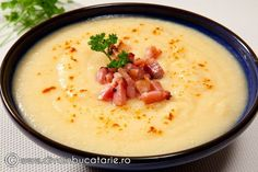 SUPA CREMA DE CARTOFI CU BACON | Diva in bucatarie Baby Food Recipes, Soup Recipes, Cooking Recipes, Healthy Recipes, Jalapeno Popper Dip, Good Food, Yummy Food, Romanian Food, Cream Soup