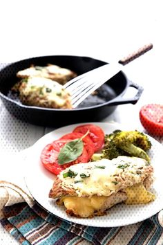 Stuffed chicken breast with Italian sub fillings on a white plate with . Italian Chicken Breast, Italian Sub, White Plates, Stuffed Chicken, Tomatoes, Meat, Food, Meals, White Dishes