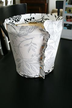 Slip cover lampshade. Another blog recommends making a paper pattern. Good idea!