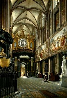 """""""Choir and nave of the Wawel Cathedral"""" (1880) by Saturnin Świerzyński (Polish;1820–1885), oil on canvas;National Museum in Warsaw"""