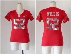 Women's San Francisco 49ers #52 Patrick Willis Handwork Sequin Lettering Fashion Jersey