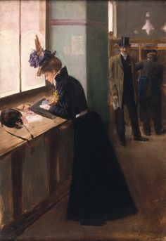 At the Telegraph. Jean-Georges Béraud (French, 1849-1936). Oil on canvas. Béraud painted Parisian life during the Belle Époque. Here, Béraud conjures an everyday scene, the writing of a telegram, with the story open to interpretation. To whom will the telegram be sent and for what purpose? What is the relationship between the lady and the gentleman watching her?