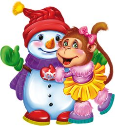 "Photo from album ""Год Обезьяны / on Yandex. Snowman Clipart, Christmas Clipart, Christmas Cards, Christmas Trees, Monkey Drawing, Christmas Characters, Cute Dogs And Puppies, Christmas Pictures, Cute Baby Animals"