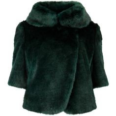 Ted Baker Bionca Faux-Fur Jacket, Dark Green (€165) ❤ liked on Polyvore featuring outerwear, jackets, coats, coats & jackets, dark green jacket, faux fur cropped jacket, faux fur jacket, party jackets and ted baker jacket
