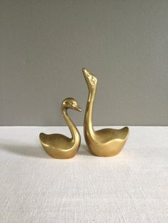 Pair of Vintage Mid-Century Brass Swans