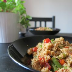 healthy food couscous,green beans,cherry tomatoes and chicken