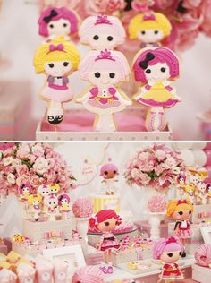 Lalaloopsy Party cookies and decorations, the balls of yarn are a fantastic idea