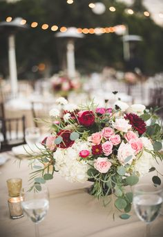 White, pink, red romantic and overflowing centerpiece // Brit Jaye Photography