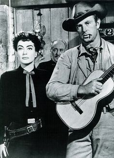 """Joan Crawford and Sterling Hayden, Johnny Guitar (Nicholas Ray, """"There is not enough money in Hollywood to lure me into making another. Joan Crawford, Hollywood Music, Vintage Hollywood, Classic Hollywood, Hollywood Stars, Lee Van Cleef, Julie London, Montgomery Clift, Ricky Nelson"""