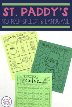 No prep St. Patrick's Day activities for speech therapy