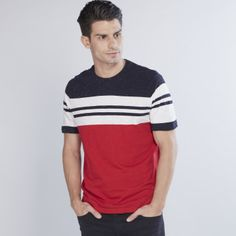 Striped T-Shirt with Round Neck and Short Sleeves African Men Fashion, Mens Fashion, Diesel Shirts, Casual T Shirts, Boys Shirts, Neck T Shirt, Bespoke, Shirt Designs, Summer Outfits
