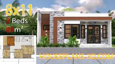 Small House Design Plans with 2 Bedrooms Full Plans - House Plans Small House Floor Plans, Simple House Plans, Simple House Design, House Front Design, New House Plans, Modern House Plans, House Construction Plan, Three Bedroom House Plan, Flat Roof House
