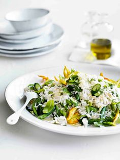 rice salad with zucchini flowers, peas, beans and mint + lemon dressing  // gourmet traveller