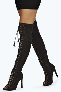 Erin Lace Up Knee High Peep Toe Boots