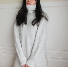 LIGHT GREY MOHAIR SWEATER DRESS WITH SIDE SLIT (CUSTOM HANDMADE) // minimalist wardrobe style winter piece