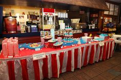 """Vintage Circus Birthday Party by Abbie Pari - """"concession stand"""" buffet table with cotton candy, hot dogs in paper hot dog trays, cupcakes, bagged popcorn, caramel dip and apples, mini corndogs, BBQ sliders, etc. We borrowed a concession stand hot dog roaster and popcorn popper from my Dad's friend. Circus tent table skirt from Oriental Trading. Decorations, cupcake toppers, banners, and cookies we made ourselves.  Party held at my Dad's restaurant Price's Barbecue House in Auburn, AL."""