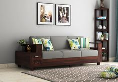 Buy Solace 3 Seater Wooden Sofa (Walnut Finish) Online in India - Wooden Street Diy Furniture Plans, Home Decor Furniture, Sofa Furniture, Living Room Furniture, Living Room Decor, Furniture Projects, Sofa Come Bed, Latest Sofa Designs, Wooden Sofa Designs