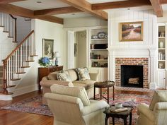 Intriguing Family Home Design with Green Surroundings: Cozy Traditional Living Room Raised Cottage Family Home ~ SQUAR ESTATE Architecture Inspiration Cottage Living Rooms, Cottage Interiors, My Living Room, Home And Living, Home And Family, Family Rooms, Cozy Living, Southern Cottage, Southern Homes