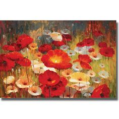 Turn your living room into an art gallery with this exquisite canvas art piece by Lucas Santini. The vivid colors in 'Meadow Poppies I' will brighten up boring, everyday furniture, and the large dimensions make this an ideal focal point for any space.