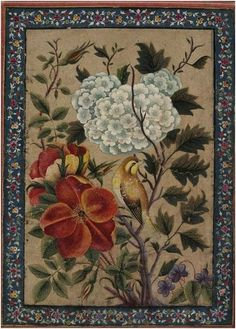 Birds and flowers, 19thC (early),  Qajar dynasty