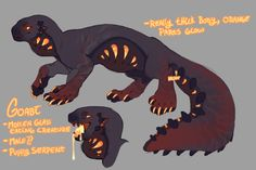 another personal character! this time a non species creature, he eats molten glass mmmm he also sleeps in live fire pits and on glowing coals, he likes to be very warm. art, character, and design . Monster Concept Art, Fantasy Monster, Monster Art, Fantasy Character Design, Character Design Inspiration, Character Art, Mythical Creatures Art, Magical Creatures, Creature Drawings