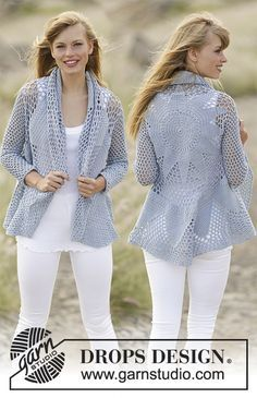 """Crochet DROPS jacket worked in a circle with double crochet and lace pattern in """"Cotton Merino""""."""