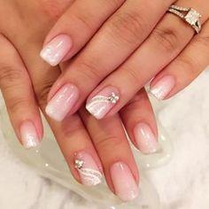 Pink silver white nail with rhinestones and design good idea for wedding nails Pink Wedding Nails, Wedding Nails Design, Diy Nails, Cute Nails, Pretty Nails, Finger Nail Art, Toe Nail Art, French Nail Designs, Nail Polish Designs