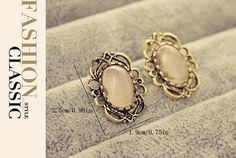 Bronze Exquisite Lace Inlay Faint Pink Ellipse Resin Stone Earrings Stud 19mm #Stud