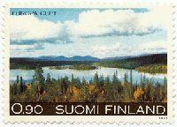 Maisema Pohjois-Suomesta. Postimerkki 1977
